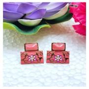 #earrings #studs #hainpainted #meenakari #enamel #flower #gajari #carrotcolour #carrot