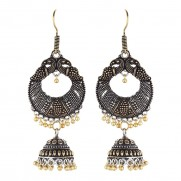 #earrings #jhumki #germansilver #oxidised #bela #leaves #copper