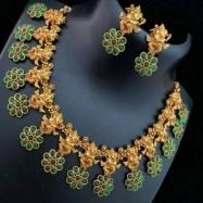 #necklace #goldplated #dancingganesha #lordganesha #ganesha #flower #green #antiquegold #copper