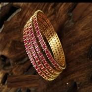 #red #zirconia #CZ #AD #bangles #designer #ethnicoutfit #stones