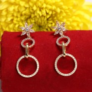 #earrings #drop #cz #zirconia #flower #circle #AD #gold