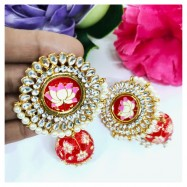 #jhumki #earrings #handpainted #meenakari #kundan #flower