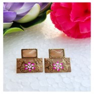 #earrings #studs #hainpainted #meenakari #coffee #brown #pink