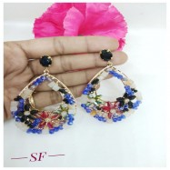 #earrings #danglers #onys #AD #desginer #blue #black #multicolour