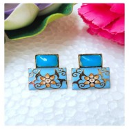 #earrings #studs #handpainted #meenakari #seablue #blue #pink