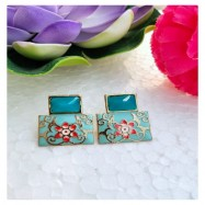 #earrings #studs #handpainted #meenakari #seablue #blue #pink #turquoise