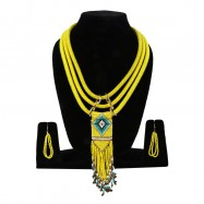 #rope #necklace #yellow #statement #classic #blue #white #beads