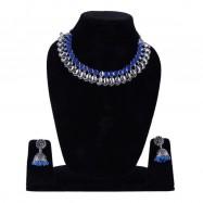 #oxidised #blue #leaf #tribal #necklace #germansilver