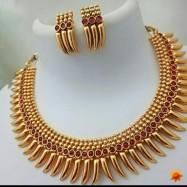 #necklace #goldplated #red #tribal #horn #chokar #earrings #jewelleryset