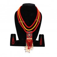 #necklace #rope #redyellow #red #yellow #beads #layers #multistrand #hook