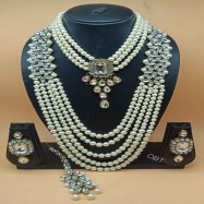 #necklace #pearls #faux #combonecklace #earrings #maangtika #white