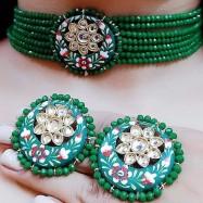 #chokar #necklace #onyx #green #handpaintedmeenakari #wedding #party #swag #jewelleryset
