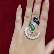 #ring #adjustable #peacock #enamel #AD #CZ