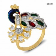 #ring #adjustable #goldplated #AD #zirconia #cz #peacock #red #multicolor