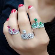 #ring #adjustable #AD #CZ #crown #threeringscombo #combo #zirconia #multicolour