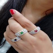 #ring #adjustable #three #combo #AD #CZ #circle #designer