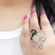 #ring #adjustable #peacock #AD #CZ #zirconia #enamel #adjustable