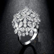 #ring #adjustable #silverplated #silver #zirconia #cz #flower #bouqet