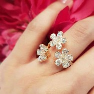 #ring #adjustable #white #silver #CZ #AD #zirconia #openend #flower