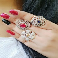 #ring #adjustable #AD #CZ #flower #threeringscombo #combo #zirconia #multicolour