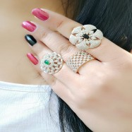 #ring #adjustable #AD #CZ #flower #threeringscombo #combo #zirconia #multicolour