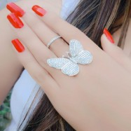 #ring #adjustable #silverplated #AD #zirconia #cz #angel #white #halo #butterfly