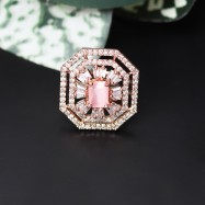 #ring #adjustable #rosegold #brass #square #cocktail #party #wedding #gemstone