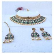 #bridal #chokar #earrings #maangtika #padmawati #kundan #dropletbeads #tuquoise #blue