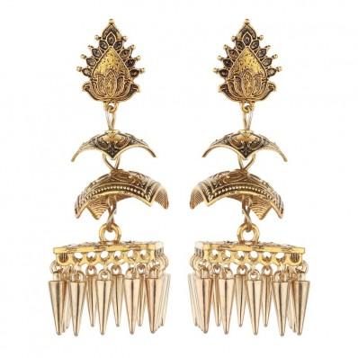 #earrings #jhumka #temple #threelayer #germensilver #oxdised