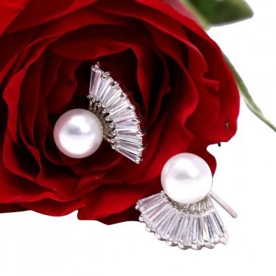 #studs #earrings #cz #zirconia #pearl #silver