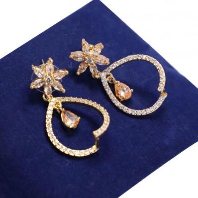 #CZ #earrings #drop #flower #heart #water #AD #zirconia