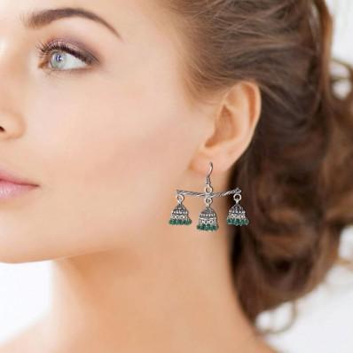 #earrings #jhumkis #germansilver #oxidised #three #jhumkicombo