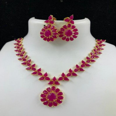 #gemstone #necklace #AD #red #chokar #zirconia