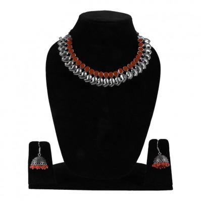 #necklace #germansilver #oxidised #red #leaf #tribal # #jhumki #chokar