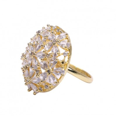 #ring #adjustable #goldplated #silver #zirconia #cz #flower #bouqet