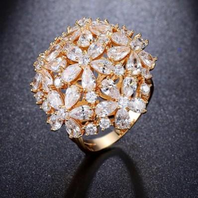 #ring #adjustable #rosegoldplated #silver #zirconia #cz #flower #bouqet