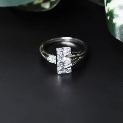 #ring #adjustable #goldplated #AD #zirconia #cz #square #white #wedding